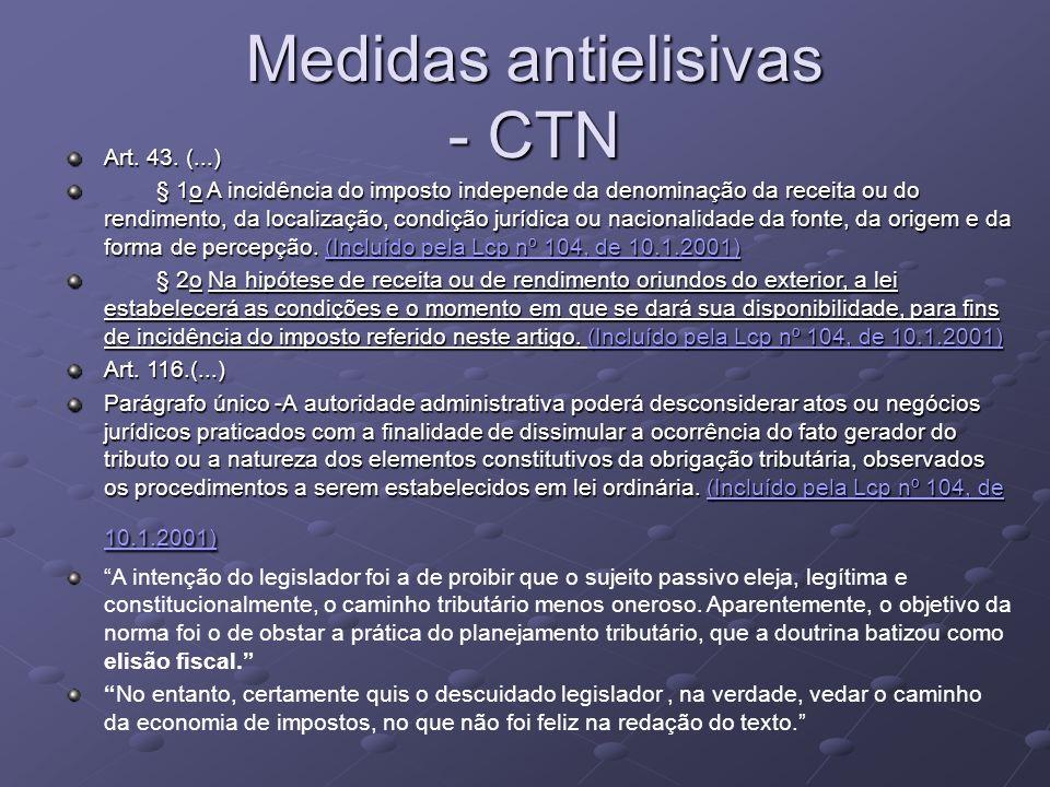 Medidas antielisivas - CTN Art. 43. (...) § 1o A incidência do imposto independe da denominação da receita ou do rendimento, da localização, condição