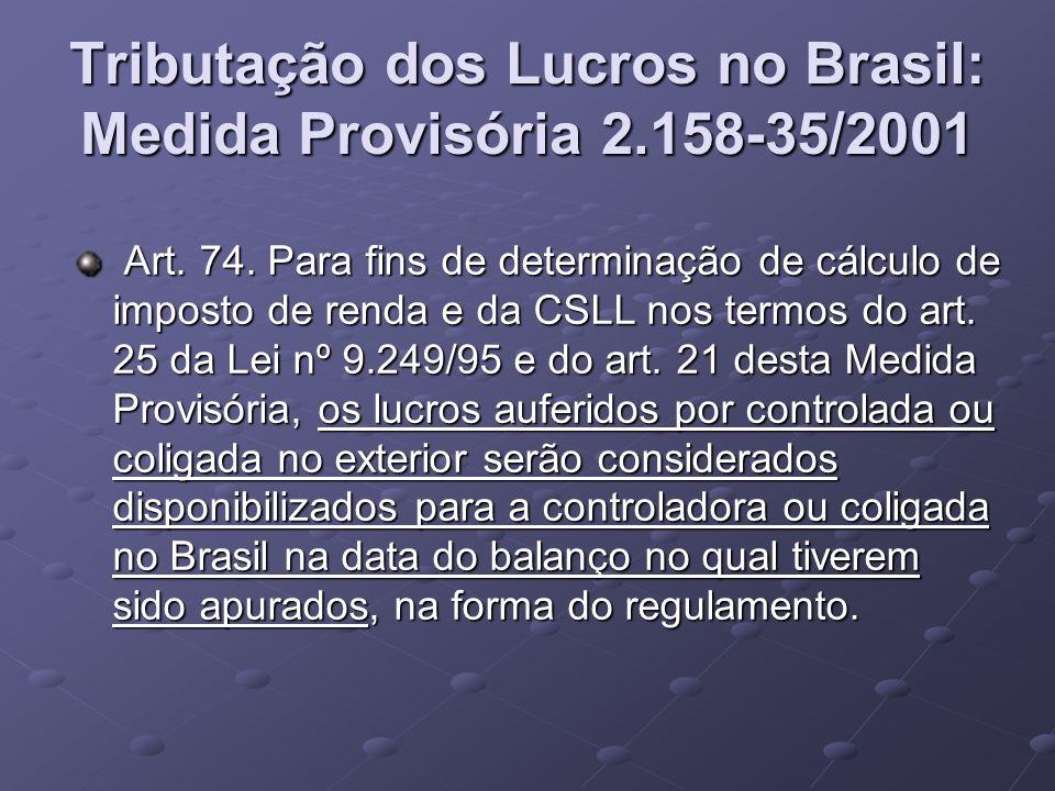 Tributação dos Lucros no Brasil: Medida Provisória 2.158-35/2001 Art. 74. Para fins de determinação de cálculo de imposto de renda e da CSLL nos termo
