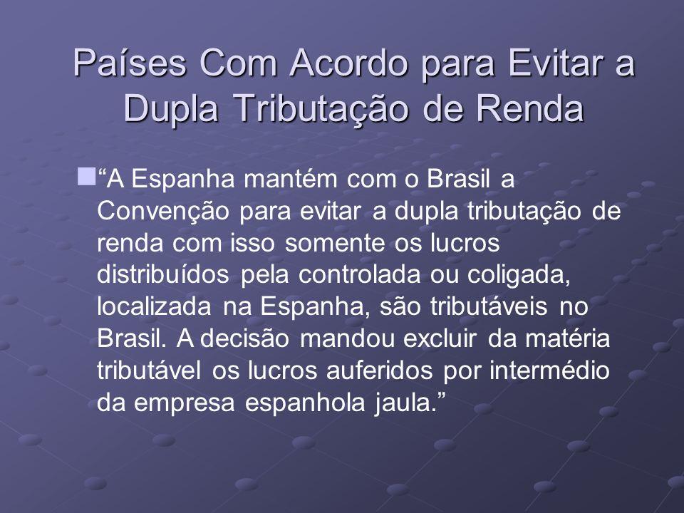 Países Com Acordo para Evitar a Dupla Tributação de Renda A Espanha mantém com o Brasil a Convenção para evitar a dupla tributação de renda com isso s