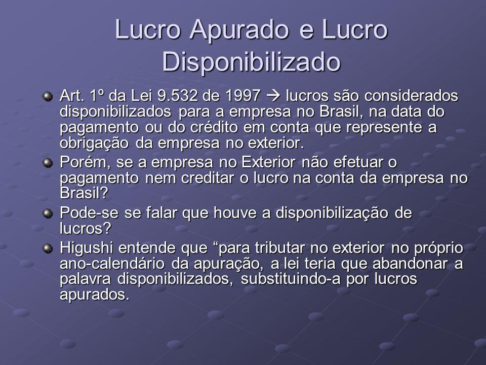 Lucro Apurado e Lucro Disponibilizado Art. 1º da Lei 9.532 de 1997 lucros são considerados disponibilizados para a empresa no Brasil, na data do pagam