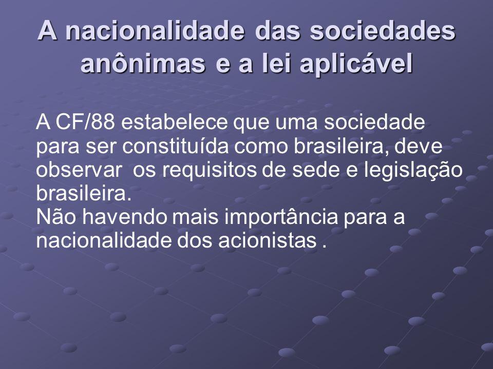 Sociedade estrangeira e atuação Autorização do Governo Federal para funcionarem.
