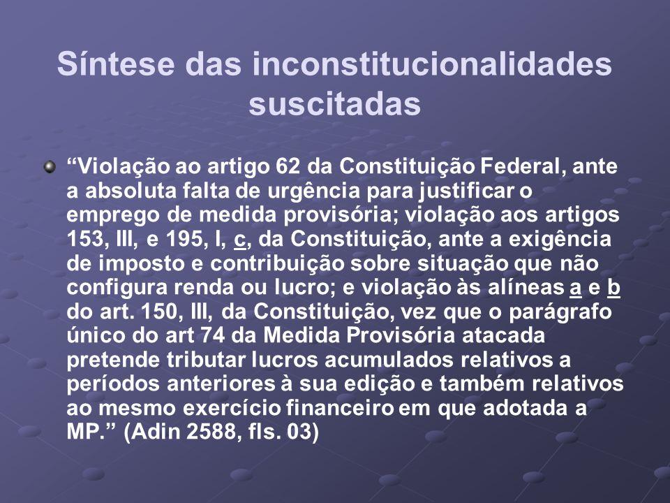 Síntese das inconstitucionalidades suscitadas Violação ao artigo 62 da Constituição Federal, ante a absoluta falta de urgência para justificar o empre