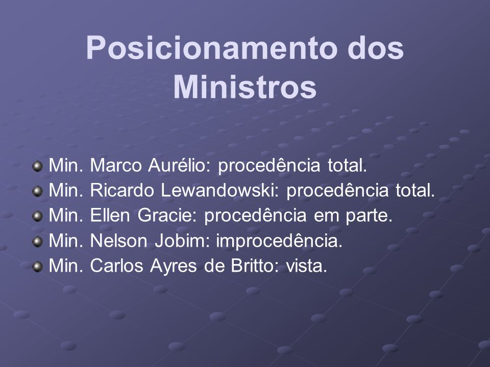 Posicionamento dos Ministros Min. Marco Aurélio: procedência total. Min. Ricardo Lewandowski: procedência total. Min. Ellen Gracie: procedência em par