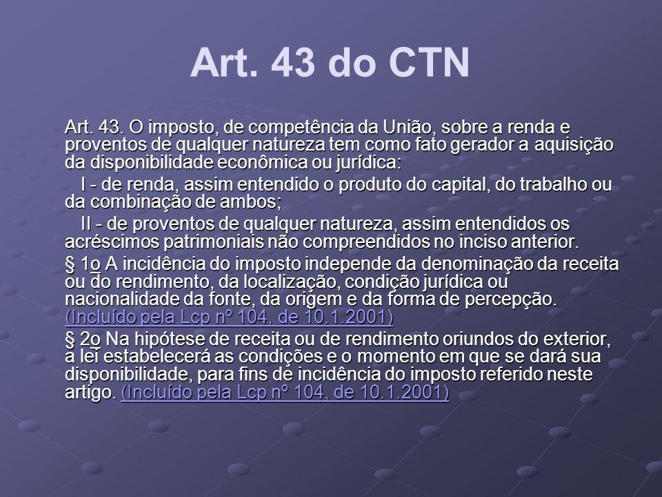 Art. 43 do CTN Art. 43. O imposto, de competência da União, sobre a renda e proventos de qualquer natureza tem como fato gerador a aquisição da dispon