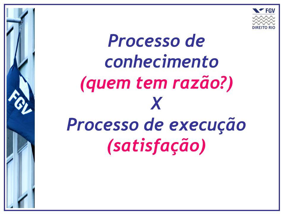 Processo de conhecimento (quem tem razão?) X Processo de execução (satisfação)
