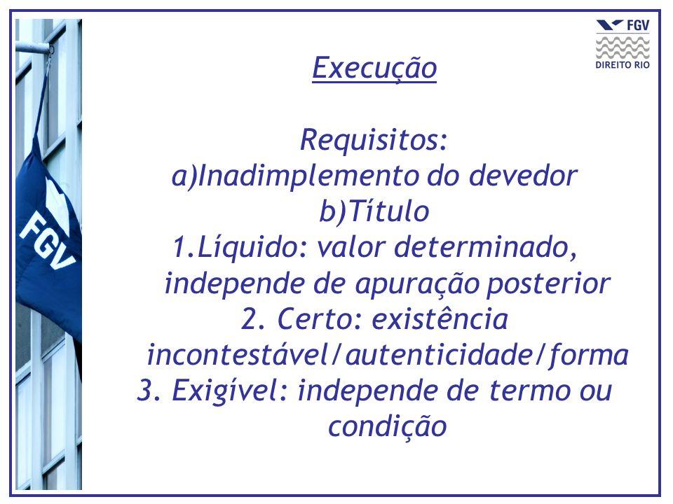 Execução Requisitos: a)Inadimplemento do devedor b)Título 1.Líquido: valor determinado, independe de apuração posterior 2. Certo: existência incontest