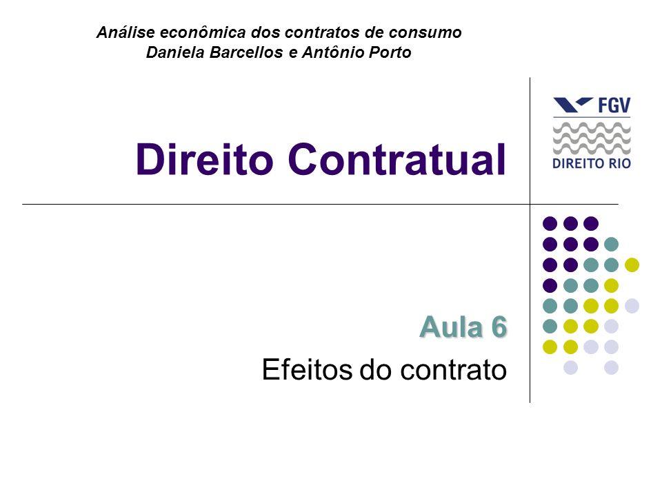 Direito Contratual Aula 6 Efeitos do contrato Análise econômica dos contratos de consumo Daniela Barcellos e Antônio Porto