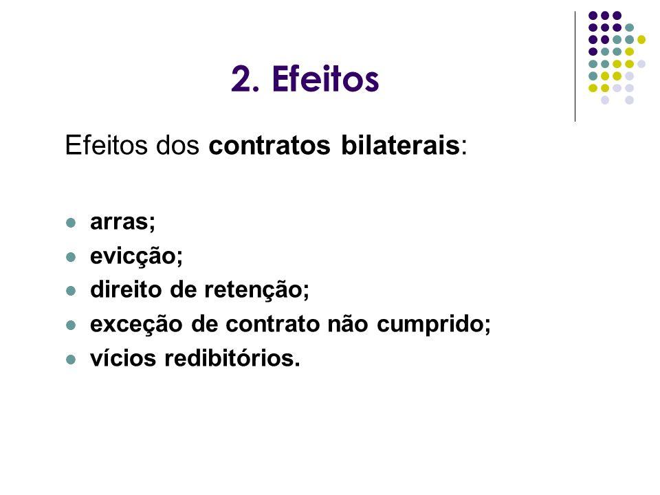 2. Efeitos Efeitos dos contratos bilaterais: arras; evicção; direito de retenção; exceção de contrato não cumprido; vícios redibitórios.
