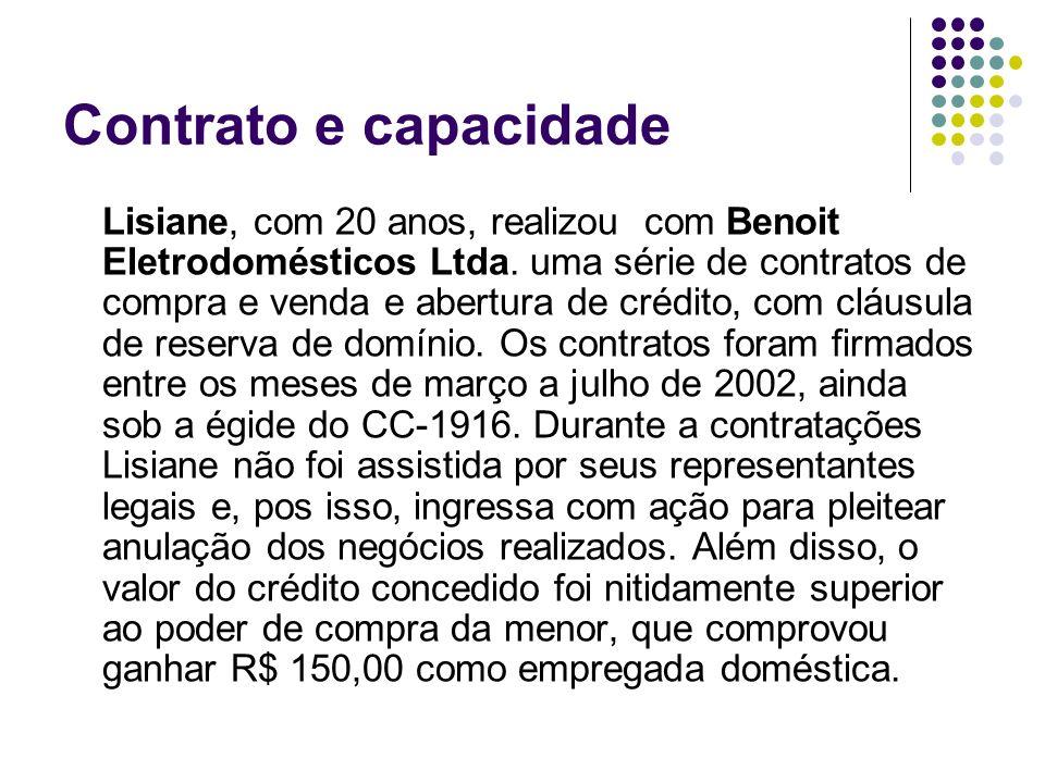 Contrato e capacidade Lisiane, com 20 anos, realizou com Benoit Eletrodomésticos Ltda. uma série de contratos de compra e venda e abertura de crédito,