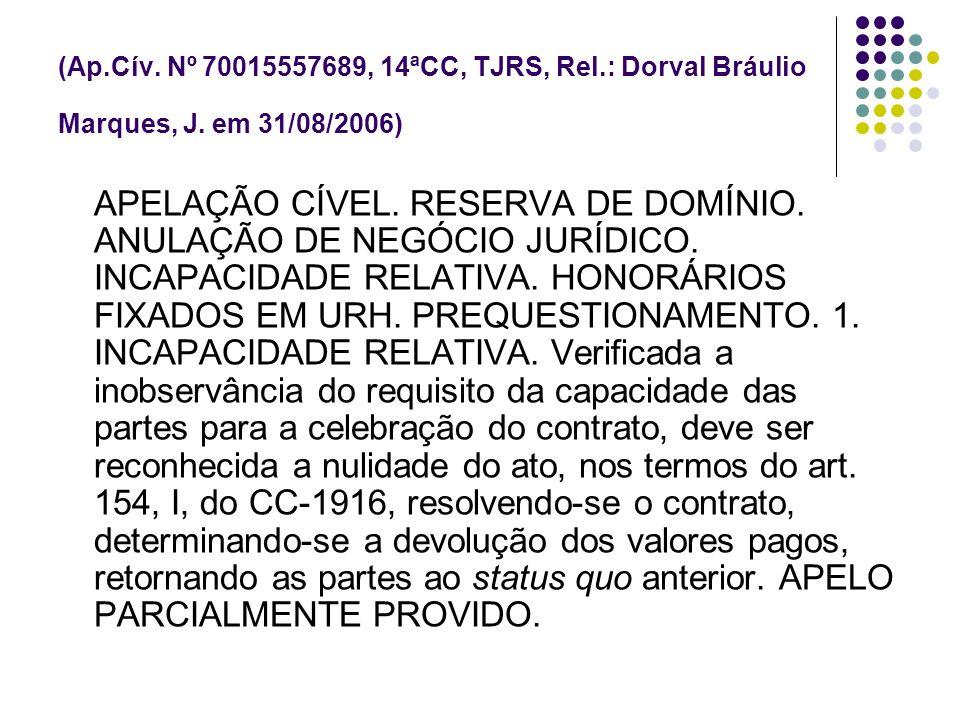 (Ap.Cív. Nº 70015557689, 14ªCC, TJRS, Rel.: Dorval Bráulio Marques, J. em 31/08/2006) APELAÇÃO CÍVEL. RESERVA DE DOMÍNIO. ANULAÇÃO DE NEGÓCIO JURÍDICO