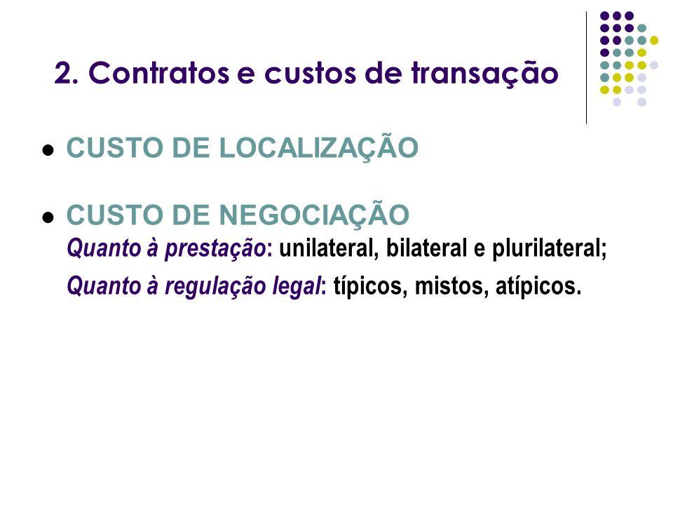 2. Contratos e custos de transação CUSTO DE LOCALIZAÇÃO CUSTO DE NEGOCIAÇÃO Quanto à prestação : unilateral, bilateral e plurilateral; Quanto à regula