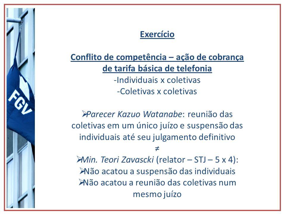 Exercício Conflito de competência – ação de cobrança de tarifa básica de telefonia -Individuais x coletivas -Coletivas x coletivas Parecer Kazuo Watan