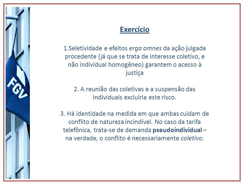 Exercício 1.Seletividade e efeitos erga omnes da ação julgada procedente (já que se trata de interesse coletivo, e não individual homogêneo) garantem
