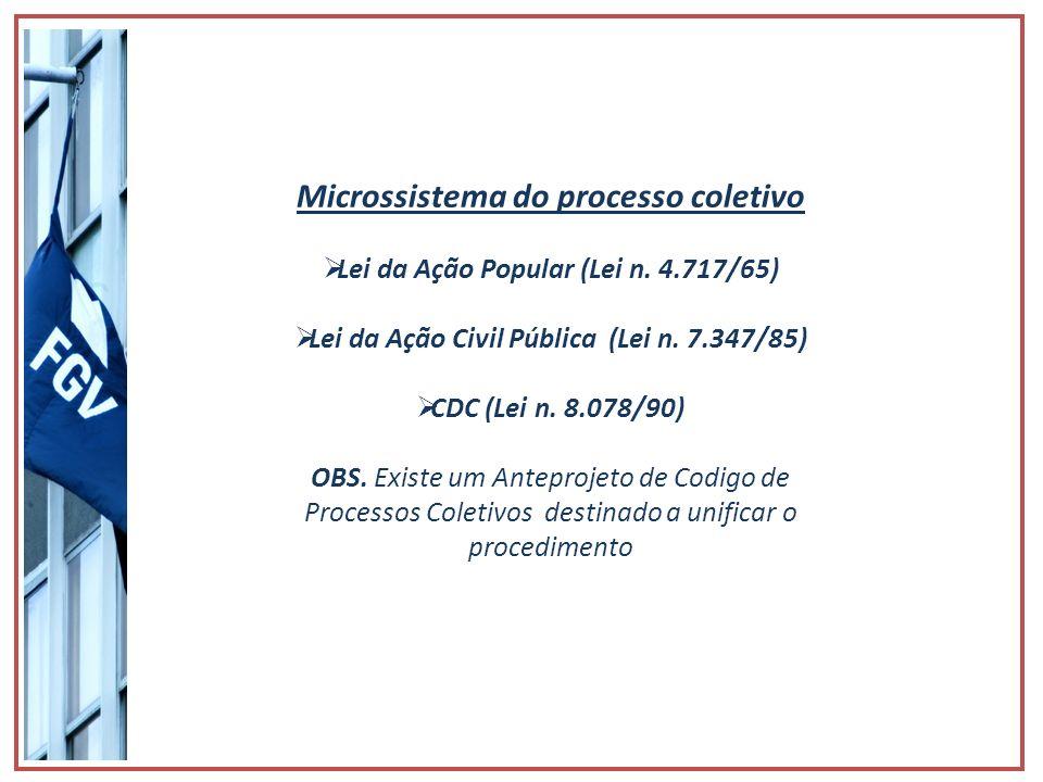 Microssistema do processo coletivo Lei da Ação Popular (Lei n. 4.717/65) Lei da Ação Civil Pública (Lei n. 7.347/85) CDC (Lei n. 8.078/90) OBS. Existe