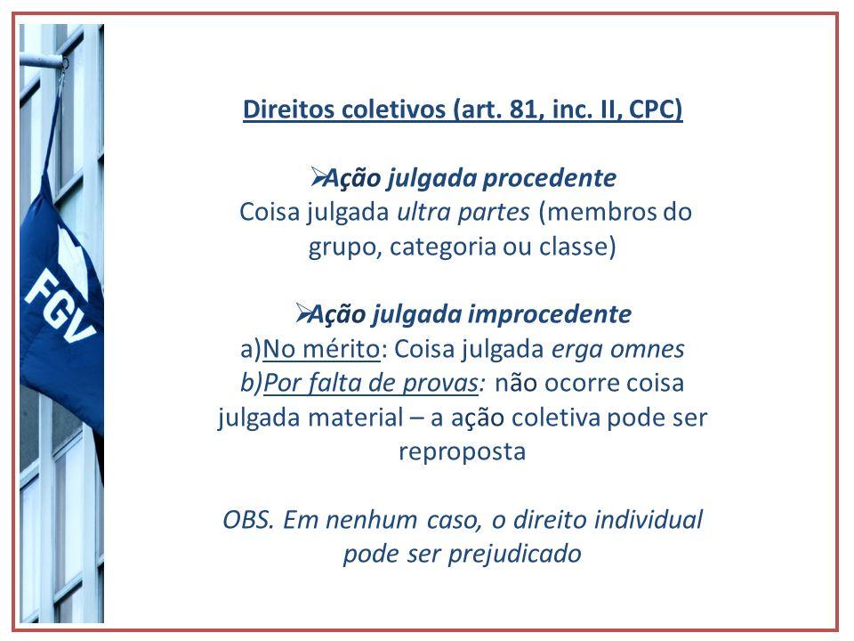 Direitos coletivos (art. 81, inc. II, CPC) Ação julgada procedente Coisa julgada ultra partes (membros do grupo, categoria ou classe) Ação julgada imp