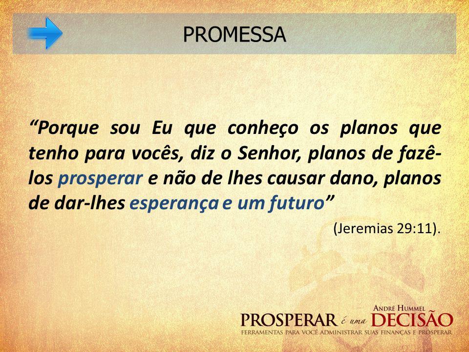 Porque sou Eu que conheço os planos que tenho para vocês, diz o Senhor, planos de fazê- los prosperar e não de lhes causar dano, planos de dar-lhes es