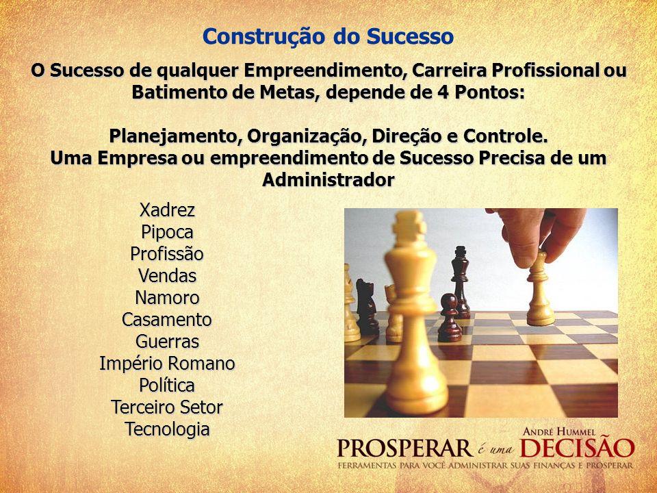 Construção do Sucesso O Sucesso de qualquer Empreendimento, Carreira Profissional ou Batimento de Metas, depende de 4 Pontos: Planejamento, Organizaçã