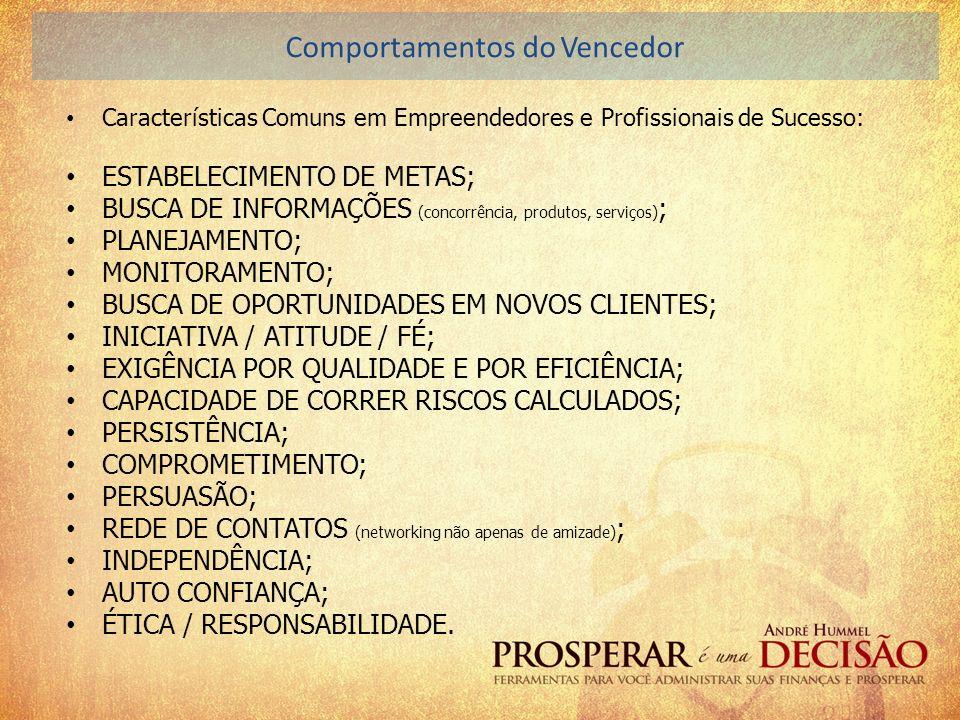 Características Comuns em Empreendedores e Profissionais de Sucesso: ESTABELECIMENTO DE METAS; BUSCA DE INFORMAÇÕES (concorrência, produtos, serviços)