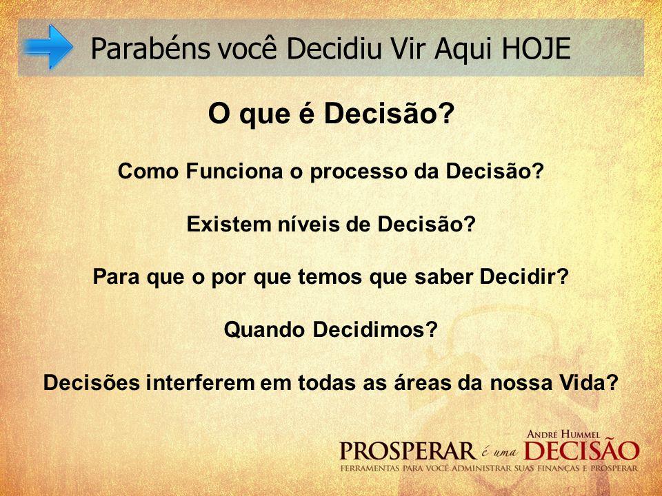 Parabéns você Decidiu Vir Aqui HOJE O que é Decisão? Como Funciona o processo da Decisão? Existem níveis de Decisão? Para que o por que temos que sabe