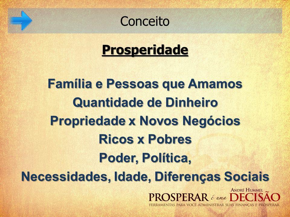 Conceito Prosperidade Família e Pessoas que Amamos Quantidade de Dinheiro Propriedade x Novos Negócios Ricos x Pobres Poder, Política, Necessidades, I