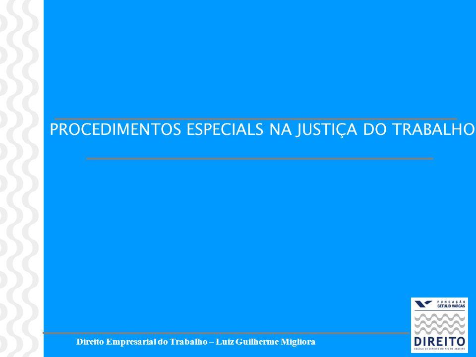 Direito Empresarial do Trabalho – Luiz Guilherme Migliora PROCEDIMENTOS ESPECIALS NA JUSTIÇA DO TRABALHO