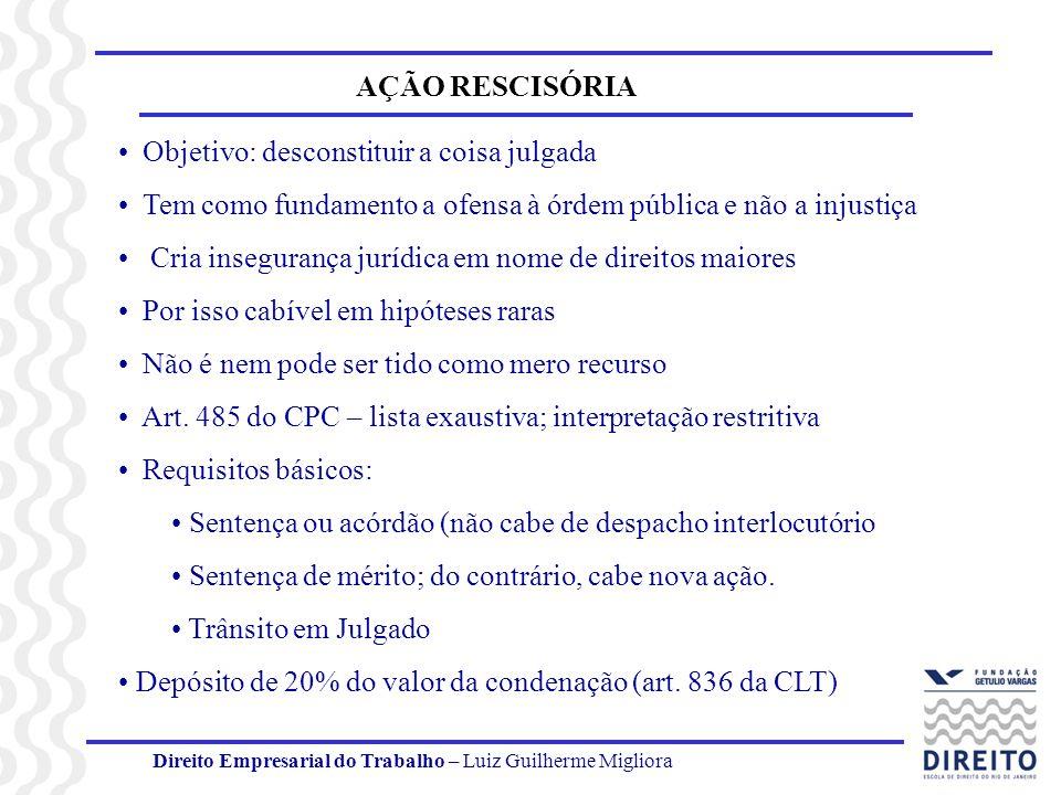 Direito Empresarial do Trabalho – Luiz Guilherme Migliora AÇÃO RESCISÓRIA Objetivo: desconstituir a coisa julgada Tem como fundamento a ofensa à órdem