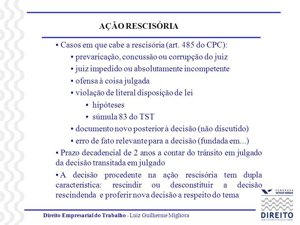 Direito Empresarial do Trabalho - Luiz Guilherme Migliora AÇÃO RESCISÓRIA Casos em que cabe a rescisória (art. 485 do CPC): prevaricação, concussão ou