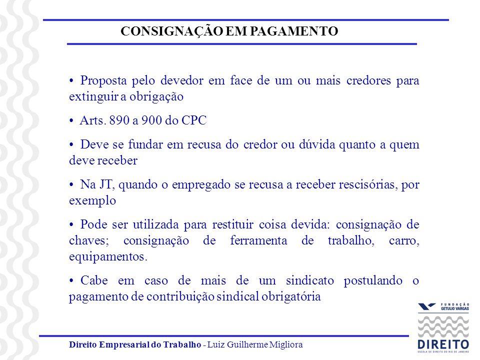 Direito Empresarial do Trabalho - Luiz Guilherme Migliora CONSIGNAÇÃO EM PAGAMENTO Proposta pelo devedor em face de um ou mais credores para extinguir