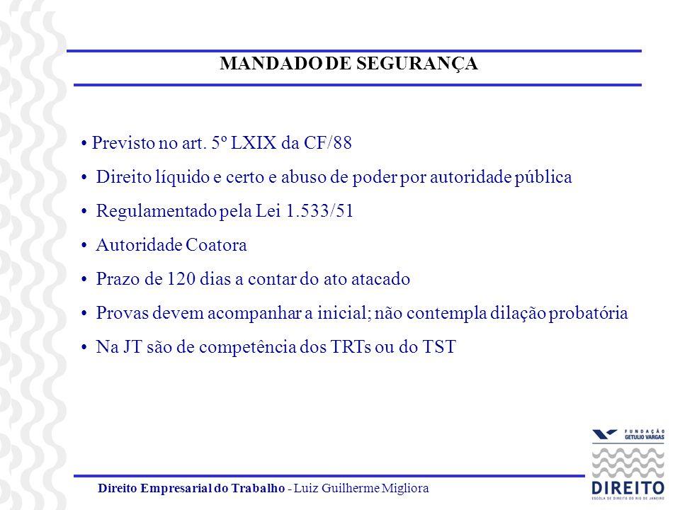 Direito Empresarial do Trabalho - Luiz Guilherme Migliora MANDADO DE SEGURANÇA Previsto no art. 5º LXIX da CF/88 Direito líquido e certo e abuso de po
