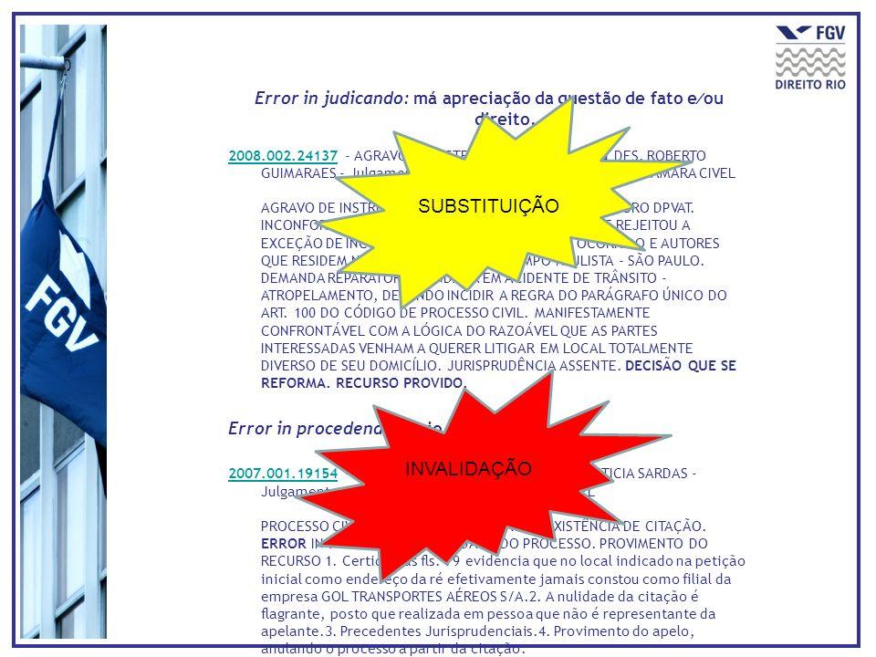 Error in judicando: má apreciação da questão de fato e ou direito. 2008.002.241372008.002.24137 - AGRAVO DE INSTRUMENTO - 1ª Ementa DES. ROBERTO GUIMA