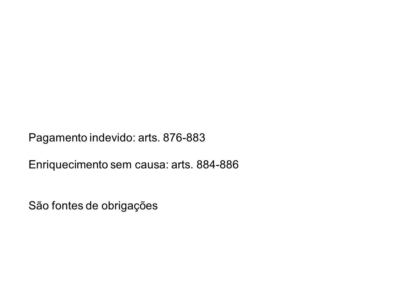 Pagamento indevido: arts. 876-883 Enriquecimento sem causa: arts. 884-886 São fontes de obrigações