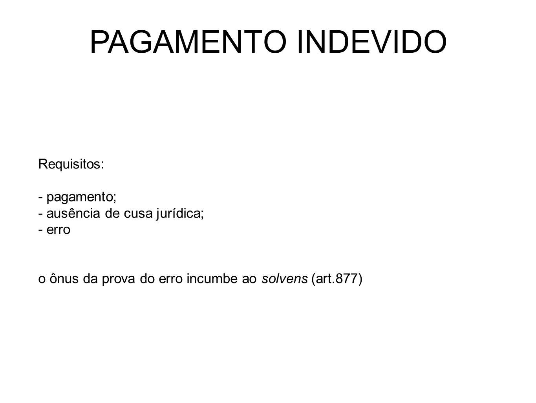 PAGAMENTO INDEVIDO Requisitos: - pagamento; - ausência de cusa jurídica; - erro o ônus da prova do erro incumbe ao solvens (art.877)