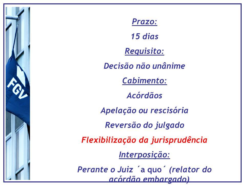 Prazo: 15 dias Requisito: Decisão não unânime Cabimento: Acórdãos Apelação ou rescisória Reversão do julgado Flexibilização da jurisprudência Interpos