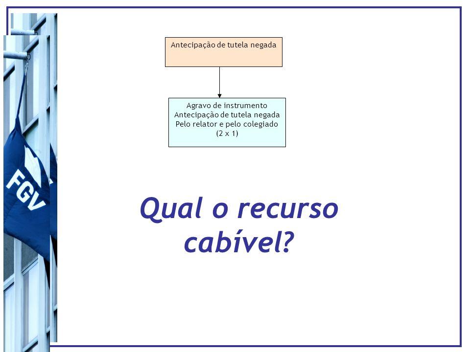Antecipação de tutela negada Agravo de instrumento Antecipação de tutela negada Pelo relator e pelo colegiado (2 x 1) Embargos Infringentes (15 dias) Reiteração do pedido em 1o grau (depois da citação) O pedido pode ser feito/reiterado a qualquer tempo Vantagens (a)Efeito suspensivo (b)pré-questionamento (c)Cumpre requisito para interposição do RESP (Súmula 207, STJ) (?) Risco Não ser conhecido/Incabível