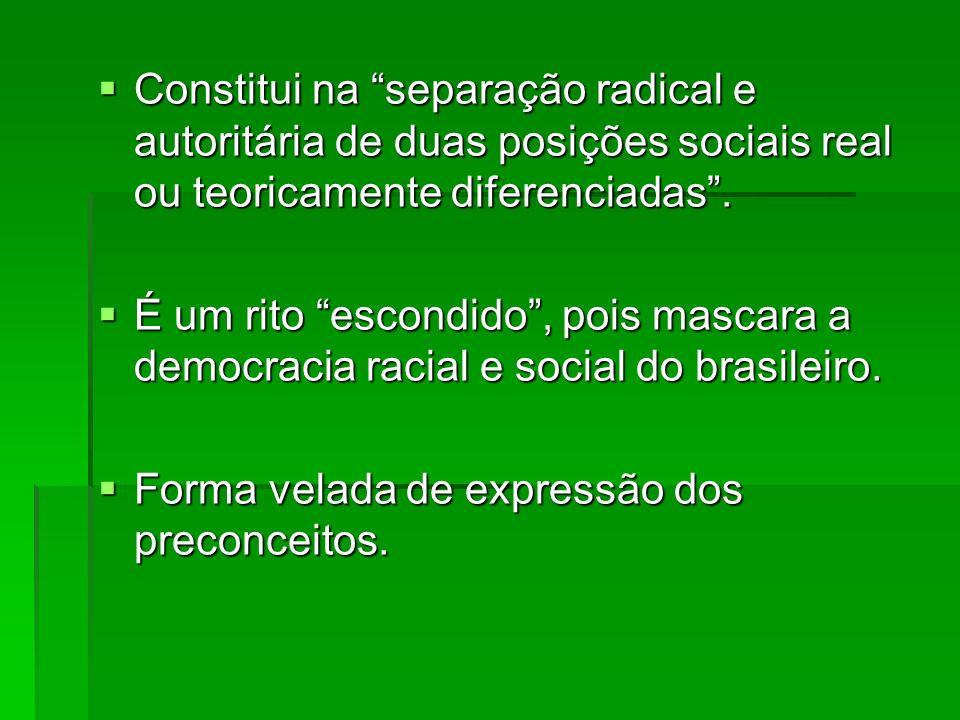 Constitui na separação radical e autoritária de duas posições sociais real ou teoricamente diferenciadas. Constitui na separação radical e autoritária
