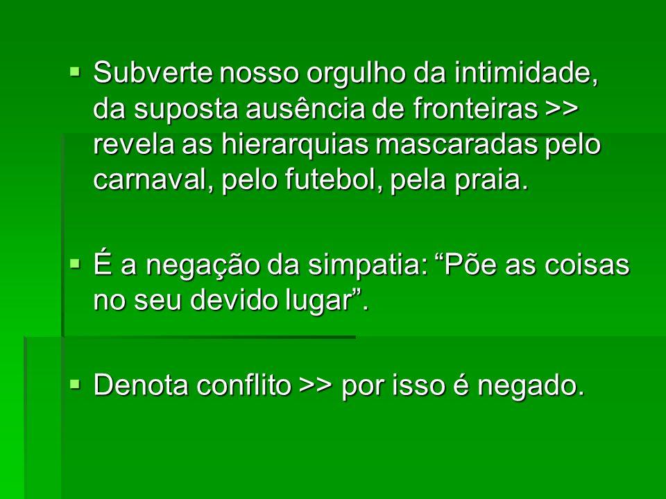 Hipótese do autor: no Brasil, o conflito é evitado por que os lugares sociais estão claros.