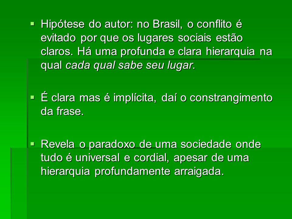 Hipótese do autor: no Brasil, o conflito é evitado por que os lugares sociais estão claros. Há uma profunda e clara hierarquia na qual cada qual sabe