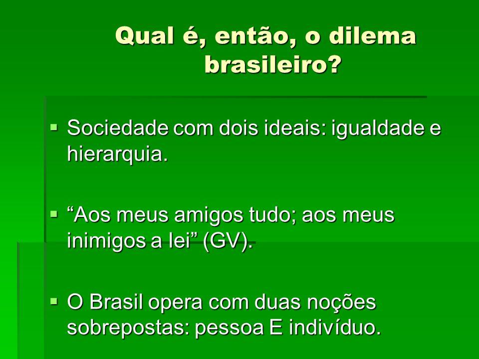 Qual é, então, o dilema brasileiro? Sociedade com dois ideais: igualdade e hierarquia. Sociedade com dois ideais: igualdade e hierarquia. Aos meus ami