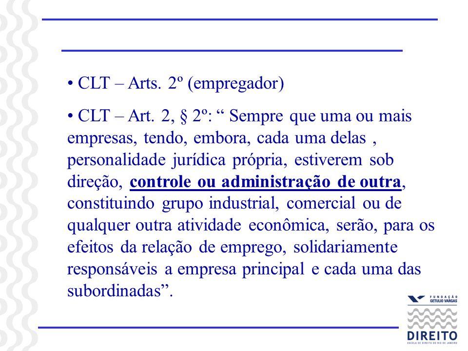 CLT – Arts.2º (empregador) CLT – Art.
