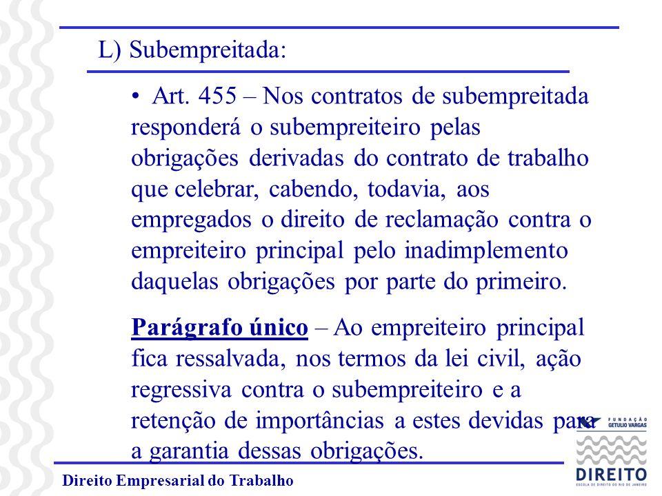Direito Empresarial do Trabalho L) Subempreitada: Art.