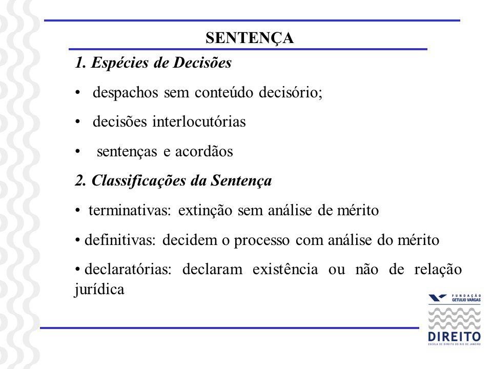 SENTENÇA 1. Espécies de Decisões despachos sem conteúdo decisório; decisões interlocutórias sentenças e acordãos 2. Classificações da Sentença termina