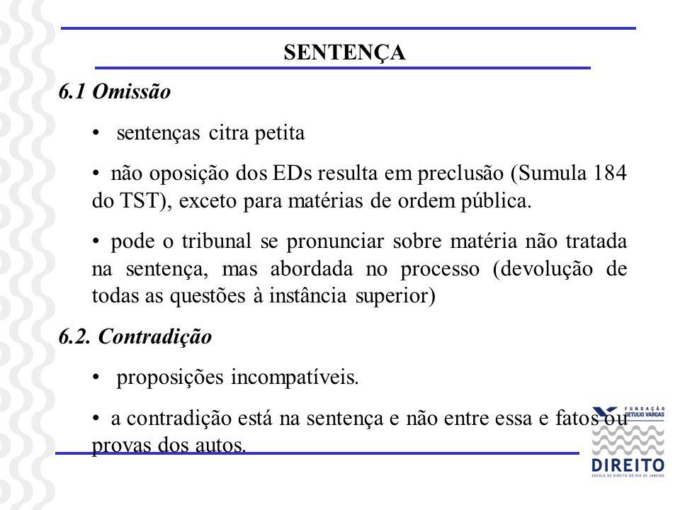 SENTENÇA 6.1 Omissão sentenças citra petita não oposição dos EDs resulta em preclusão (Sumula 184 do TST), exceto para matérias de ordem pública. pode