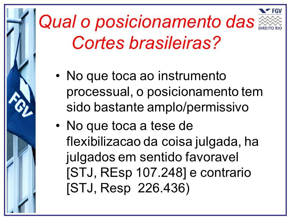 Qual o posicionamento das Cortes brasileiras? No que toca ao instrumento processual, o posicionamento tem sido bastante amplo/permissivo No que toca a