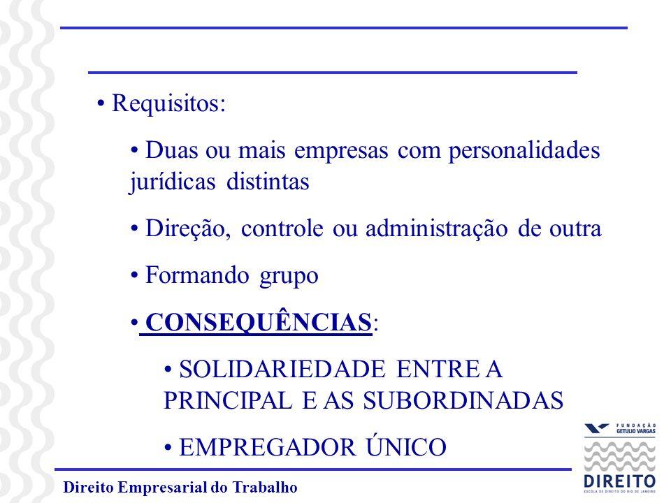 Direito Empresarial do Trabalho Requisitos: Duas ou mais empresas com personalidades jurídicas distintas Direção, controle ou administração de outra F