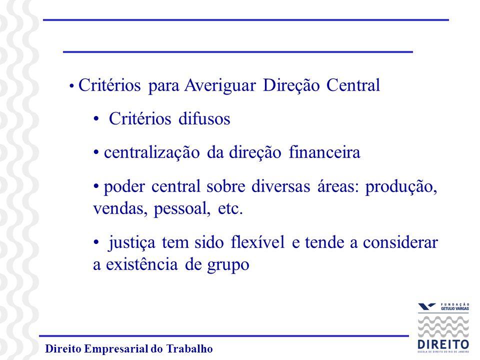 Direito Empresarial do Trabalho Critérios para Averiguar Direção Central Critérios difusos centralização da direção financeira poder central sobre div