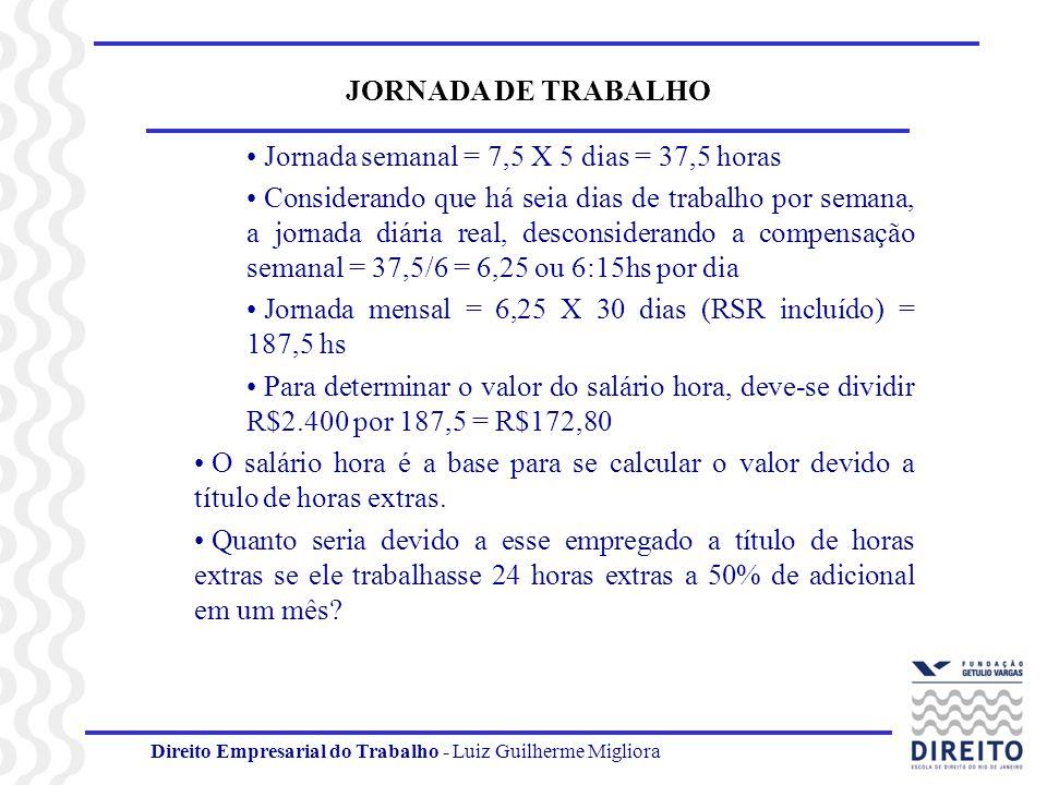 Direito Empresarial do Trabalho - Luiz Guilherme Migliora JORNADA DE TRABALHO Jornada semanal = 7,5 X 5 dias = 37,5 horas Considerando que há seia dia