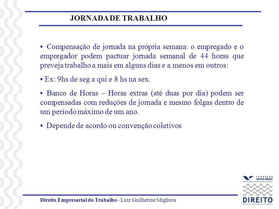 Direito Empresarial do Trabalho - Luiz Guilherme Migliora JORNADA DE TRABALHO Compensação de jornada na própria semana: o empregado e o empregador pod