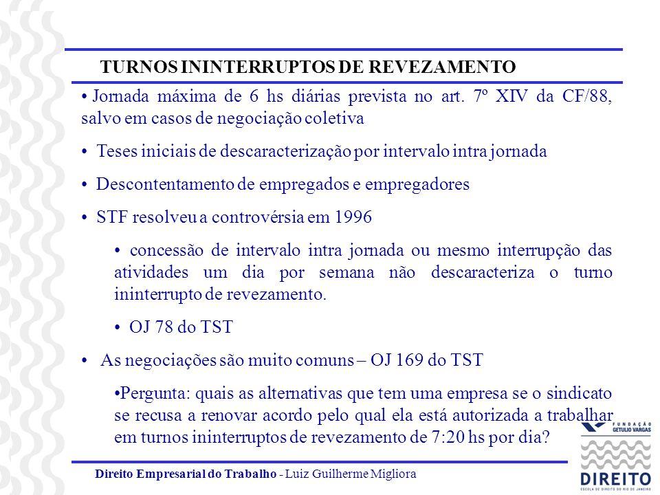 Direito Empresarial do Trabalho - Luiz Guilherme Migliora TURNOS ININTERRUPTOS DE REVEZAMENTO Jornada máxima de 6 hs diárias prevista no art. 7º XIV d