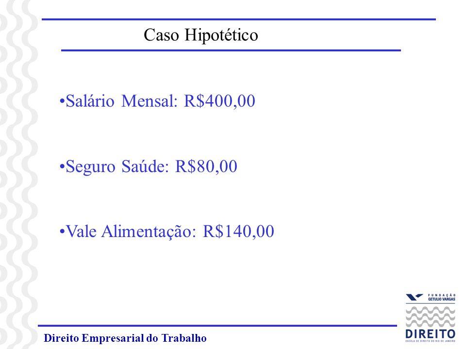 Direito Empresarial do Trabalho Caso Hipotético Salário Mensal: R$400,00 Seguro Saúde: R$80,00 Vale Alimentação: R$140,00