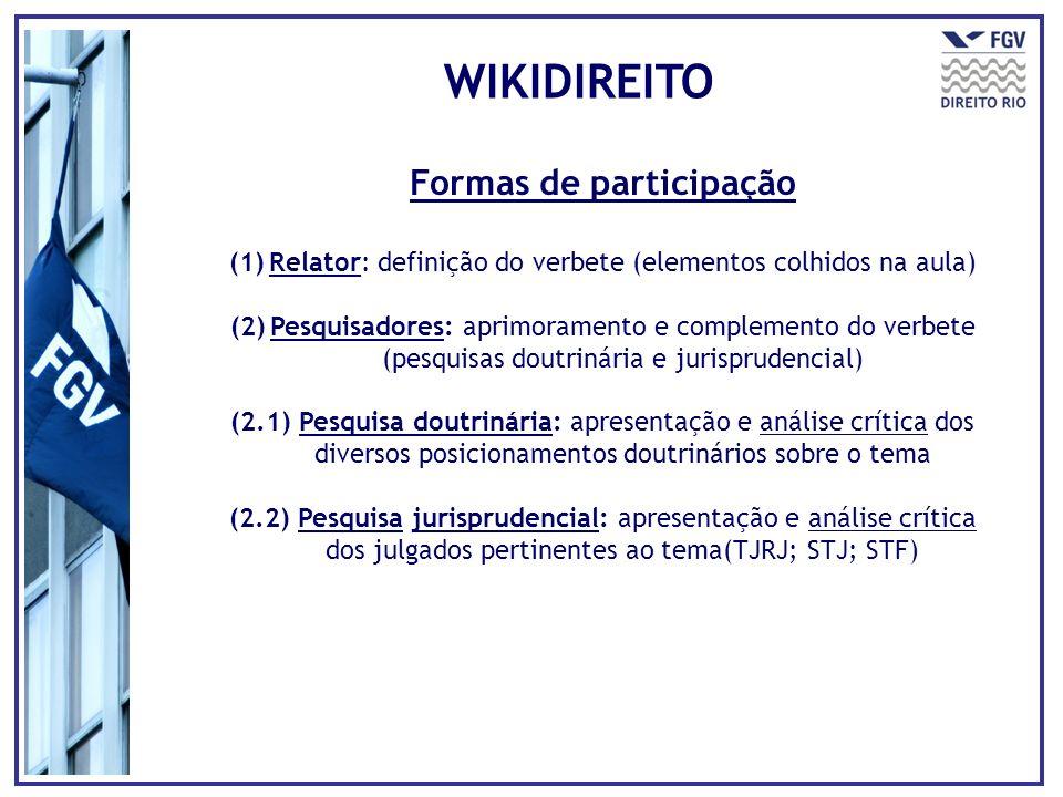 WIKIDIREITO Formas de participação (1)Relator: definição do verbete (elementos colhidos na aula) (2)Pesquisadores: aprimoramento e complemento do verb